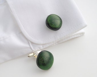 Green glass cuff links, dark green sparkle fused glass cufflinks