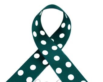 Jungle Green Polka Dots 3/8 inch Polka Dot Grosgrain Ribbon - Polka Dot Ribbon, Polka Dot Hair Bow, Polka Dot Bow, Ribbon By The Yard