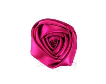 Wine Folded Satin Rolled Flowers Rosettes 2 inch - Wine Satin Flowers, Wine Hair Flowers, Wine Flowers For Headbands, Wine Satin Flowers