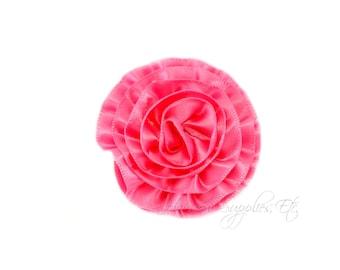 Bubblegum Pink Rose Ruffle Silk Flowers 2 inch - Bubblegum Pink Flowers, Bubblegum Pink Hair Flowers, Pink Flowers, Pink Flowers For Hair