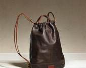 Drawstring Backpack - Dark Brown Leather