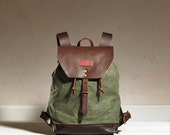 Sandy Rucksack - Olive Waxed Canvas