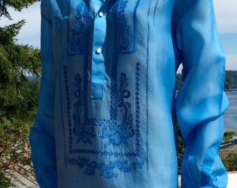 Vintage PEACOCK Blue Embroidered Ethnic Tunic Top xl xxl xxxl