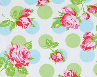 END of BOLT - 19 inches - Tanya Whelan - Sugar Hill - Falling Roses in Blue pink roses green polka dot cotton quilting fabric