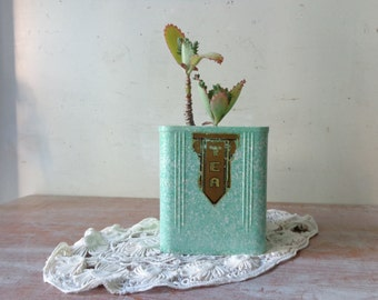 Rustic Mottled Green Tea Canister