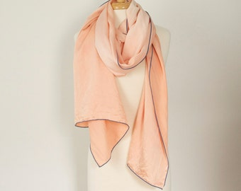 huge pale peach pink natural madder dyed silk chiffon scarf or wrap with blue edging