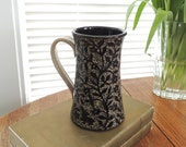 Extra Large Mug in Stoneware, Handcarved with Flower Vines, Birds and an Owl