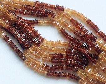 Hessonite Heishi Beads, Natural Hessointe Garnet Spacer Beads, Hessonite Garnet Necklace, 4-4.5mm, 8 Inch - AGA99