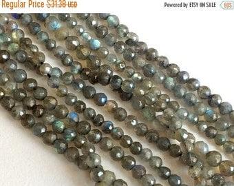 50% VALENTINE SALE Labradorite Beads, Labradorite Faceted Round Bead, Flashy Blue Fire Gemstone 4mm Beads, 13 Inch Strand, Labradorite Neckl
