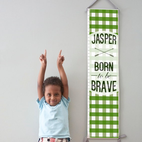 "Custom/ Personalized Green Plaid ""Born to be Brave"" canvas growth chart"