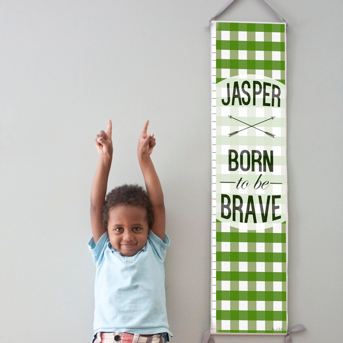 """Custom/ Personalized Green Plaid """"Born to be Brave"""" canvas growth chart"""