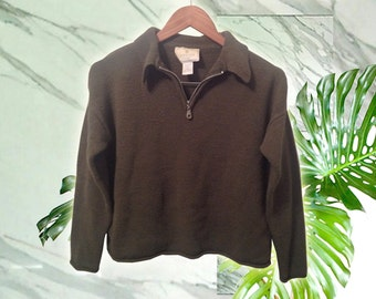 90s Grunge Olive Green Crop Zip Neck Collared Long Sleeve Boucle Sweater