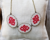 Cross stitch necklace - casual textile necklace in red n010red