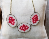 Cross stitch necklace - Embroidered jewelry - Ethnic Ukrainian embroidery - Ethnic statement jewelry by Skrynka - n010red