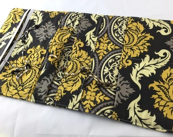 Travel Jewelry Organizer - Travel Jewelry Roll Fabric Jewelry Pouch - Travel Jewelry Case Grey Jewelry Case Joel Dewberry Damask in Granite