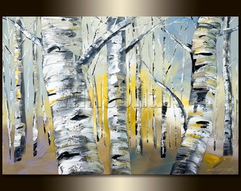 Birch Forest Modern Landscape minimalist abstract Tree Art Canvas Original Oil Painting 20X30 by Willson Lau