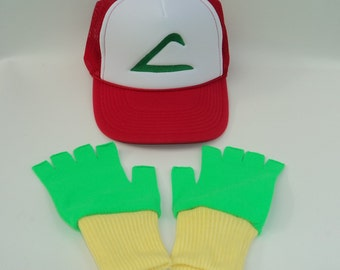 Ash Ketchum Trainer  Hat and Gloves set  Halloween costume Pokemon Choose your Size