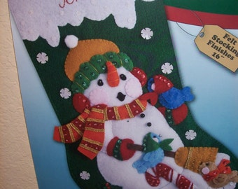 Snowman and Carolling Robins - 16 in Felt Appliqued Christmas Stocking