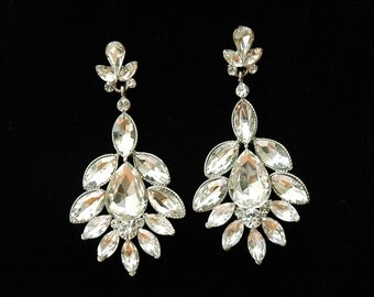 Wedding Earrings, Crystal Bridal Earrings, Wedding Jewelry, Rhinestone Earrings, Vintage Style Chandelier Earrings,