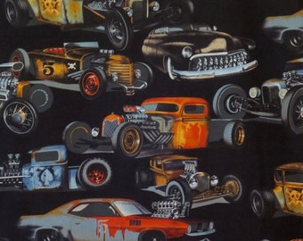 Rat Rods Stock Cars Print Pure Cotton Fabric--One Yard