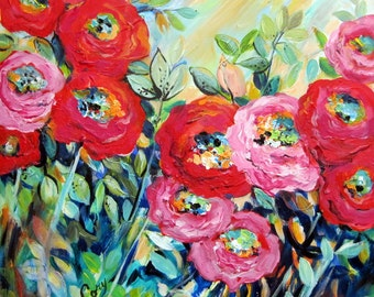 Abstract Original Landscape painting Red Peonies Canvas art  24 x 24 Art by Elaine Cory