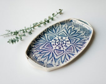 New!  Cobalt and Cream Lace Tray! Handmade Pottery Appetizer Plate - Lace Serving Tray