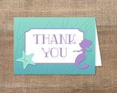 Mermaid Thank You Card, Printable Aqua and Purple Baby Shower Thank You, INSTANT DOWNLOAD