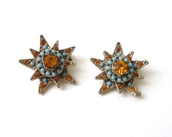 Vintage Rhinestone Lapel Pins Scarf Pins Set Turquoise