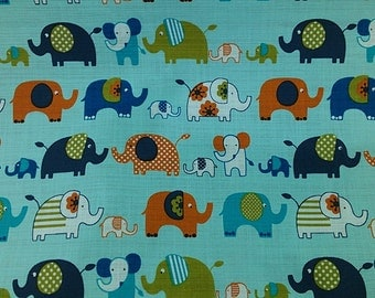 "elephant family - 2 yards - cotton linen - mint -animal,kawaii, home deco, Check out with code ""5YEAR"" to save 20% off"