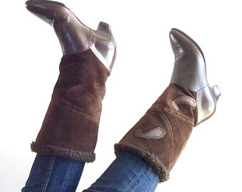 Vintage 80s brown boots / Vintage Mid-Calf Boots / Fall Winter 80s Boots / vintage winter boots / boots size 8.5 US, 39 Italy, 6 UK