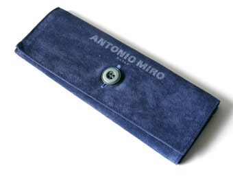 vintage glasses case - soft fabric eyeglass case faux leather - blue sunglasses pouch / holder - eyewear retainer - antonio miro