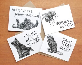 greeting card set: collection two, bee, beaver, frog, buck, possum, hawk, bear, cat, support, friendship, love, birthday, get well