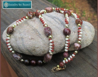 Single Strand Gemstone Necklace Jasper Agate Stones Reddish Brown Beige Gold Statement Jewelry 19in Long Matching Earrings Available