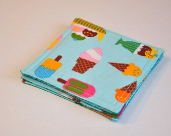 Coasters Fabric Drink Coasters Ice cream sundaes on turquoise
