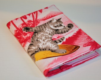 Passport Cover Sleeve Case Holder  Cotton Surfing Cat is Catching a wave - also available in grey and blue