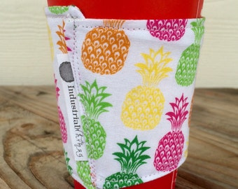 Pineapples Botanical Flowers Coffee Cozy Reversible Gift for Her
