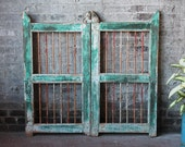 SALE Antique Shutter Set Indian Turquoise Green Wood and Iron Small Gate Wall Art Architectural Element Global Decor Moroccan Boho