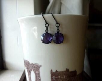 40% OFF SALE! - Vintage Swarovski Cardinal Purple Rhinestones Dark Antiqued Brass Earrings
