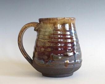 Coffee Mug, 15 oz, handthrown ceramic mug, stoneware pottery mug, unique coffee mug