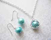 Bird Nest Jewelry Set, 8mm Robin's Egg Blue Cultured Freshwater Pearl Wire Wrapped Nest Pendant on Chain Necklace with Matching Earrings