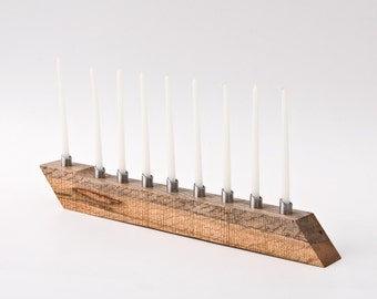 Modern Menorah Hanukkah Menorah Salvaged Wood Candle Holder Candelabra LIOR