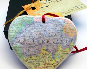 Switzerland Map Christmas Ornament, Your Special Place in the Heart / HONEYMOON Gift / Wedding Map Gift / Travel Tree Ornament /