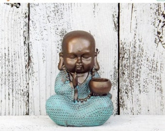Buddha Decor~Patina ~Decorative Buddha Figurine~Buddha Sculpture~Bronze~Bohemian