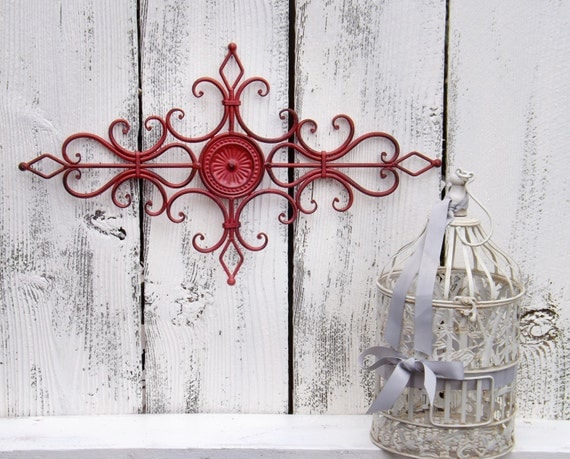 On Sale RED Metal Wall Scroll / Decorative Metal By