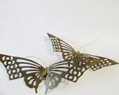 Brass Butterfly  Set, Set of Two Butterfiles Plagues, Wall Decor, Kids Room Decor, Palm Beach Decor, Nursery Room Decor, Brass Decor