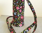 Insulated Water Bottle Carrier - Black Floral