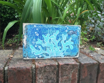Original Wood Wall Sculpture Painting Coral Sea Life Art Block Beach House Decor by CastawaysHall Seahorse Fish Starfish Coral Seascape