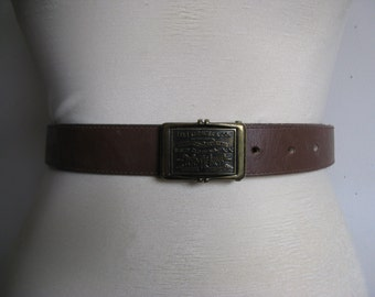 Vintage 1980s Leather LEVI Strauss Buckle Cocoa Brown 80s Leather Belt Medium
