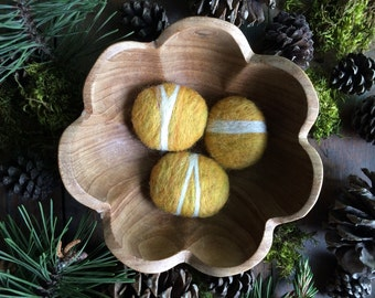 Wool felt stones, set of 3, Amber Heather, felted pebble, yellow autumn bowl filler, thanksgiving decor, Waldorf fall gift, classy cat toy