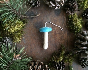 Amanita mushroom ornament, a Bright Turquoise needle-felted toadstool holiday decoration, turquoise toadstool ornament, woodland christmas